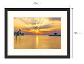 Seagull Sunset Black Framed Print 40 x 30 cm