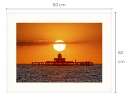 Pier Head Sunset White Framed Print 80 x 60 cm