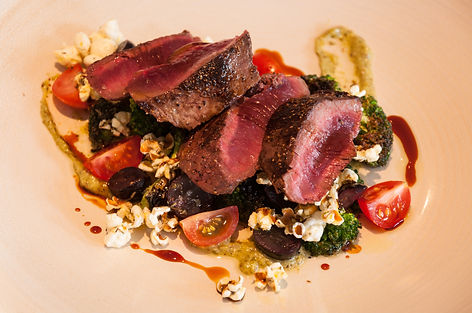 Ostrich with Popcorn and Thyme