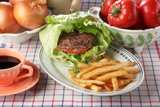 Hamburger with Lettuce Wrap
