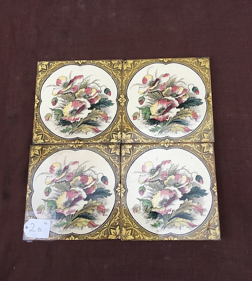Set of 4 Victorian Fireplace Tiles