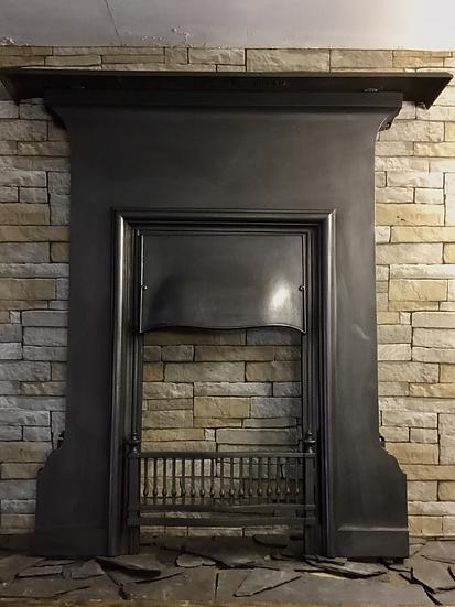 Art Nouveau Large Cast Iron Bedroom Fireplace