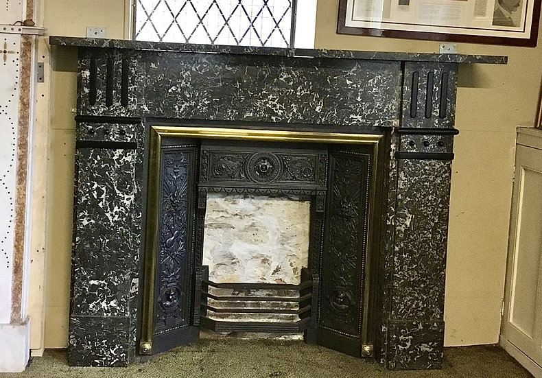 St Annes Marble Lounge Fireplace with Brass Edged Cast Iron Insert
