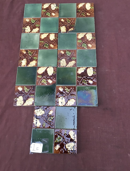 Set of 7 Victorian fireplace tiles