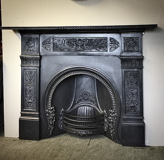 Victorian Cast Iron Lounge Surround With a Dental Moulding Top and Original Arch