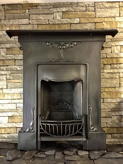 Art Nouveau Cast Iron Bedroom Fireplace with Ornamental Wooden Firebrick