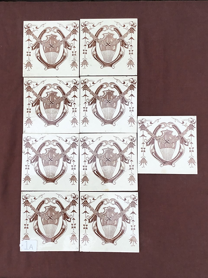 Set of 9 Victorian fireplace tiles 6in x 6in