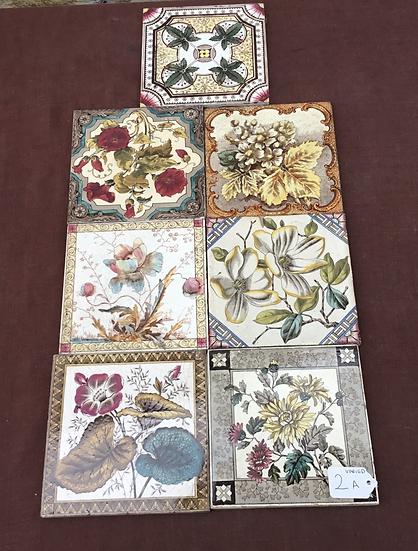 Various original Victorian Fireplace Tiles 6x6in