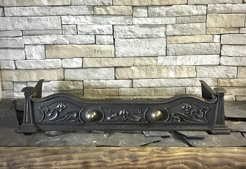 Art Nouveau Cast Iron and Brass Fender
