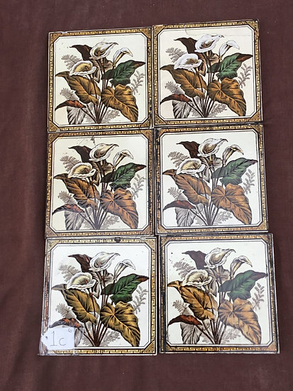 Set of 6 Victorian Fireplace Tiles