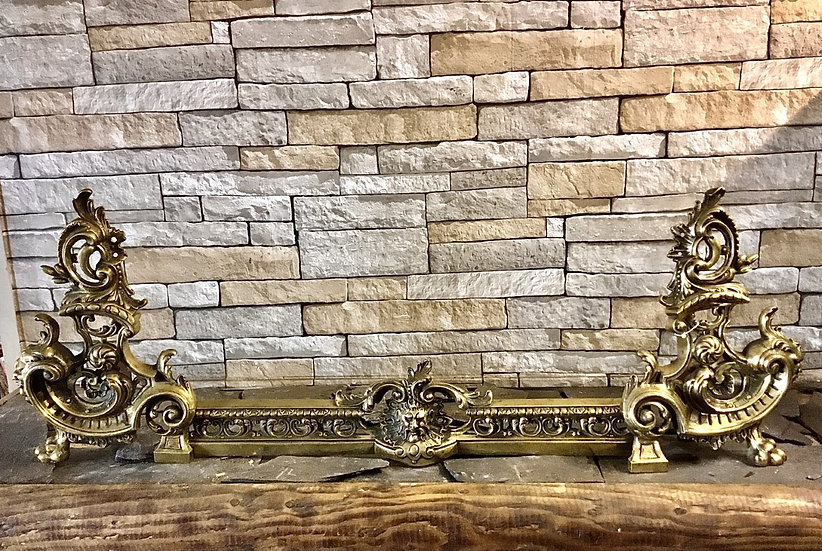 French Brass 20th Century Adjustable Fire Fender