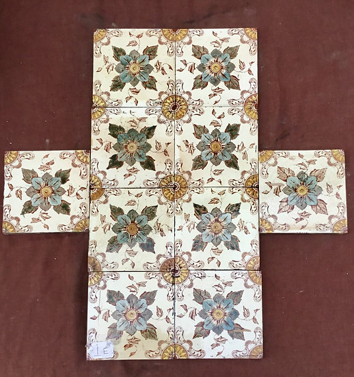 Set of 10 Victorian Fireplace Tiles Condition Used