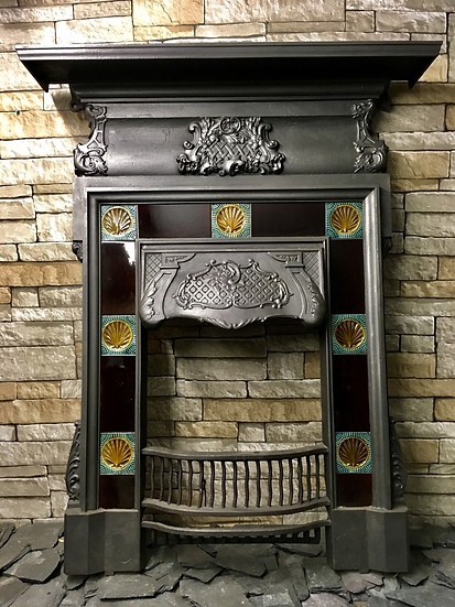 Rare Original Tiled Victorian Cast Iron Bedroom Fireplace