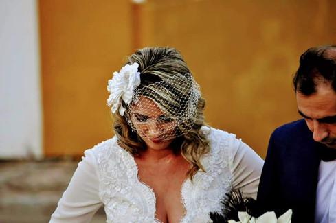 Tocado y velo de novia