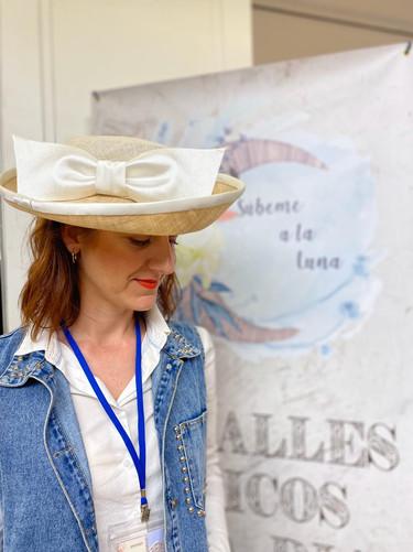 sombrero blanco lazo seda