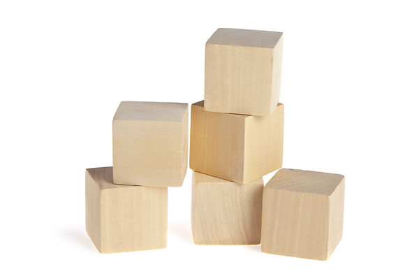 construction from wooden cubes. It is is
