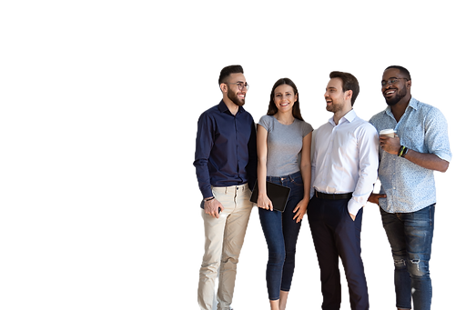 Four diverse young business people pose near grey white wall studio background copy space