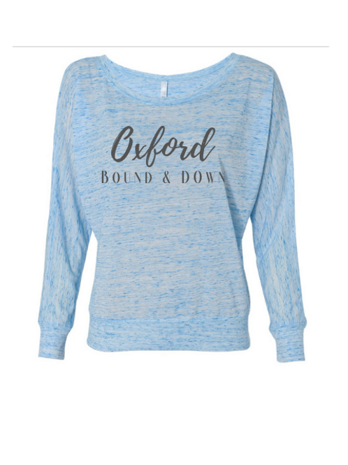 "Womens Bella + Canvas Sloucy Off Shoulder Long Sleeve Tee ""Oxford Bound"""
