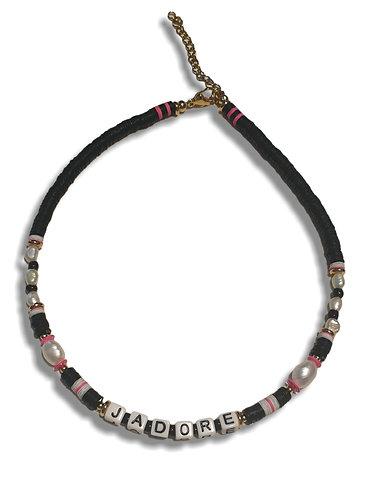 jadore necklace black pink