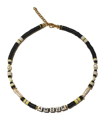 amour black yellow necklace