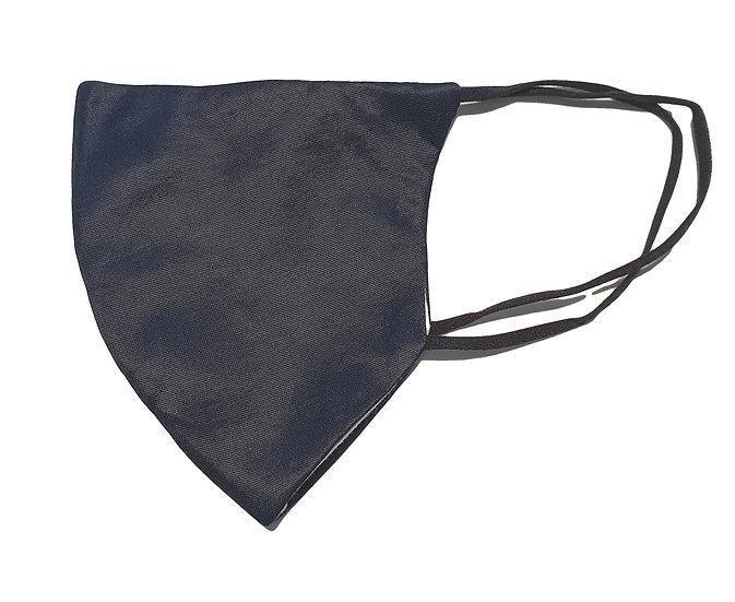 navy blue satin mask, shield design