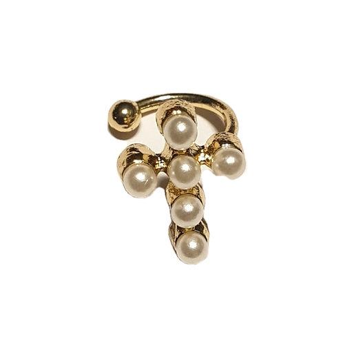 50e cross pearl stud earring