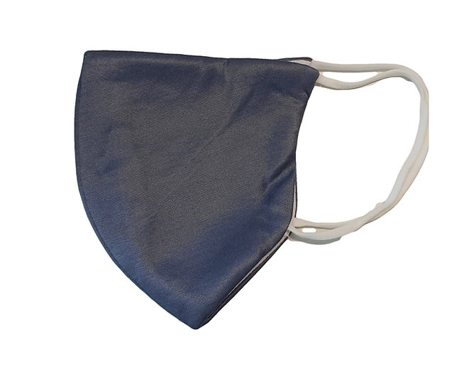 grey  satin mask, shield design white elastic