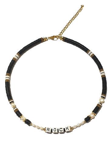 rock  black khaki necklace