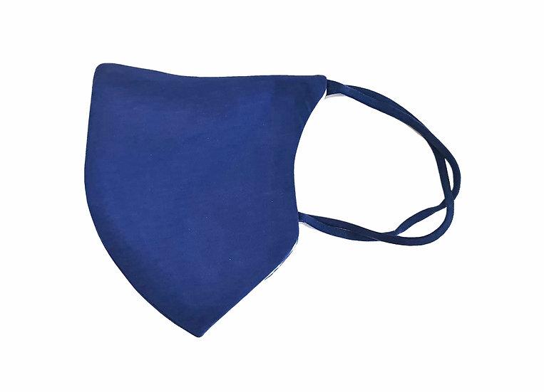 blue cotton mask, shield design