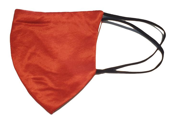 rust color satin mask, shield design