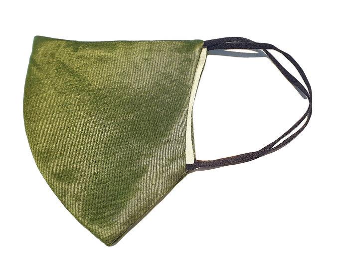 khaki color satin mask, shield design