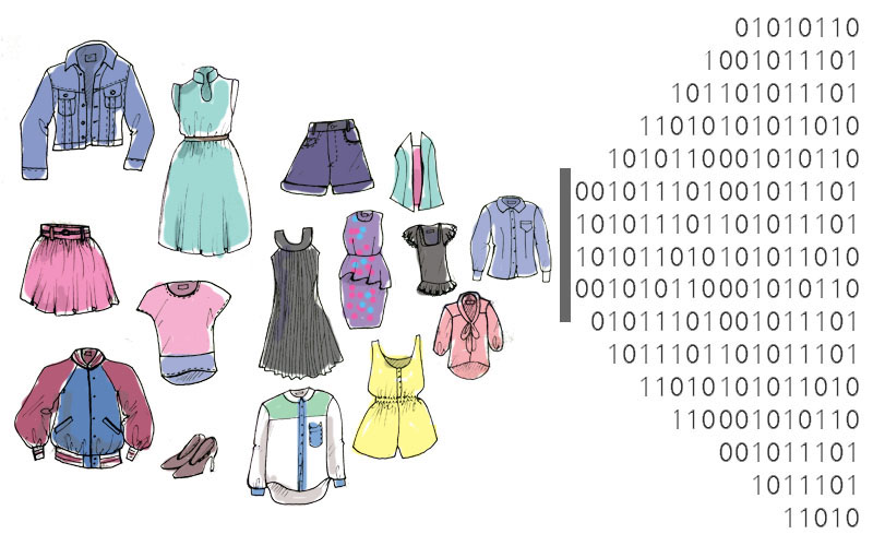 Sketches of pieces of clothing translating into binary code, representing the ability to personalize fashion through data