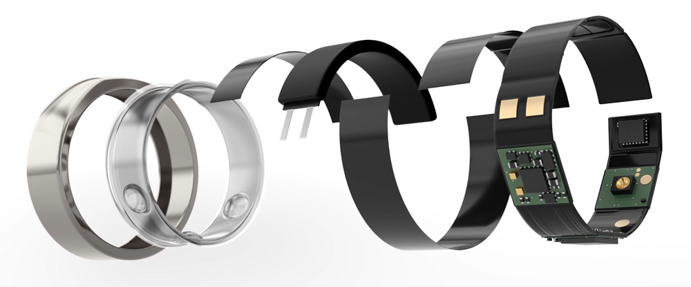 A conceptual image shows an Oura Ring broken down into its core hardware components, spread across a horizontal plane.