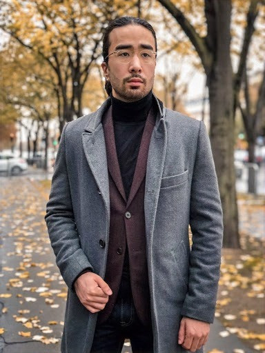 Man with perfectly fitted gray overcoat: shoulder seams end at the shoulder, sleeves end at the wrist, and not too snug/loose