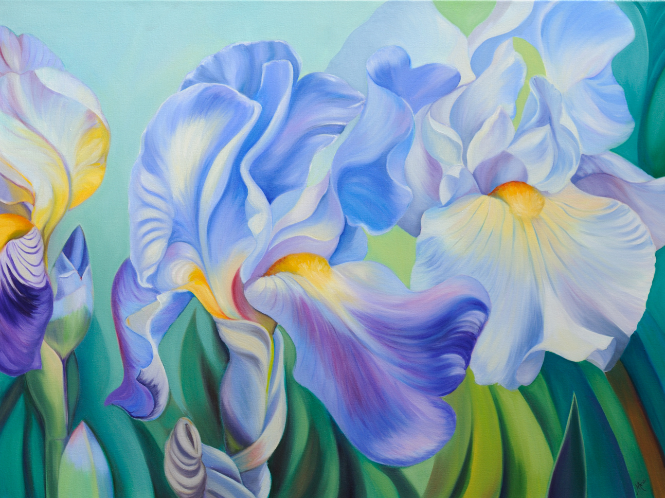Three Irises oil painting