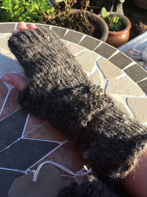 Long grey fingerless mitts
