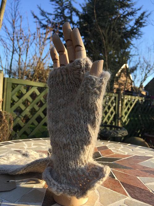 Fingerless handspun hand knitted mittens with frill