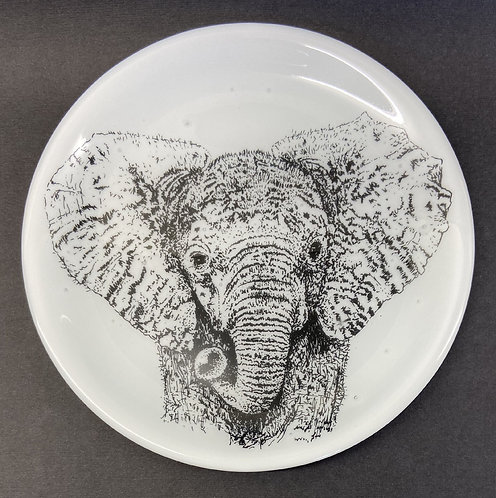 Baby Elephant glass plate