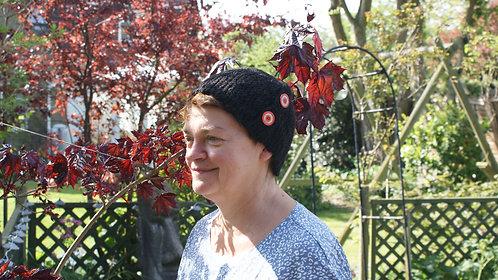 Sideways knitted hat