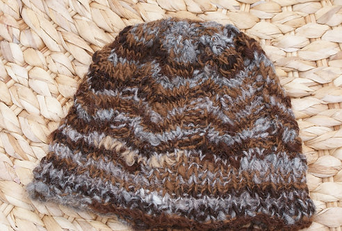Hand spun hand knit patterned hat