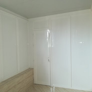 White paneled door and walls.