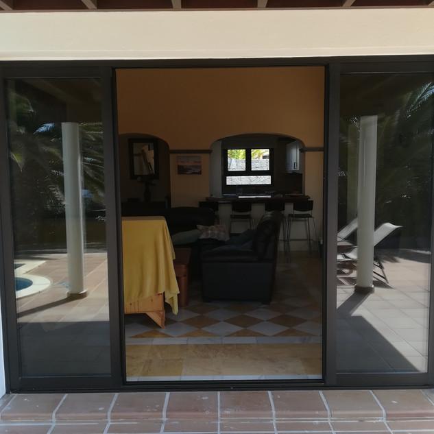 Four part sliding door system