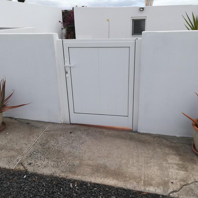 White garden gate.