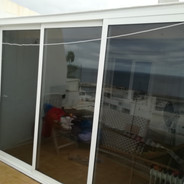 Three part sliding door system.