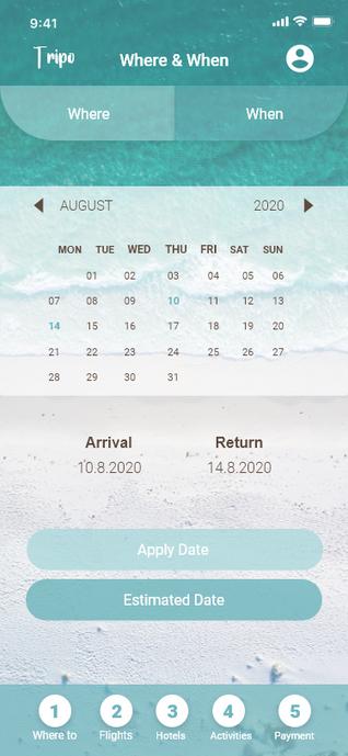 Destination & Date Page