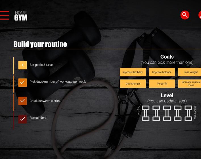 Routine page - set goals