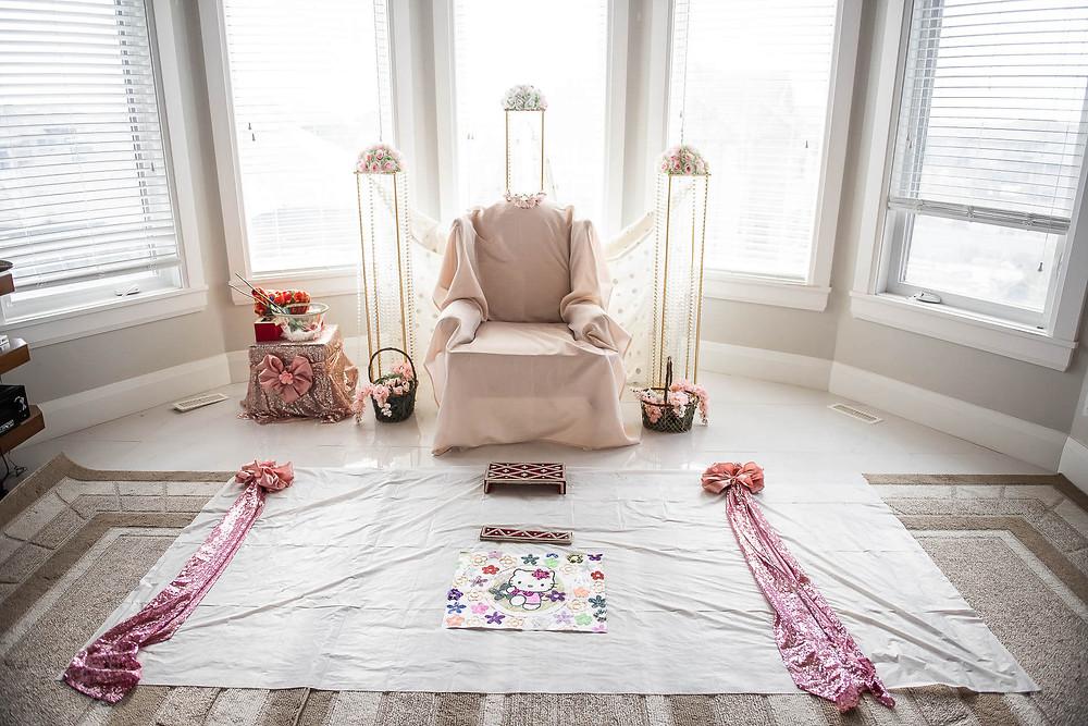 rangoli and chair setup for choora ceremony