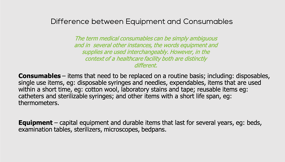 Difference between equipment and consumables