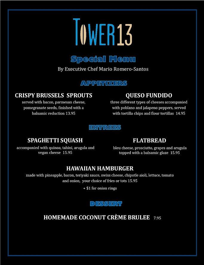Chef Mario web site menu