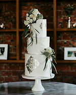 Two Tier wedding cake with Silver Leaf.J